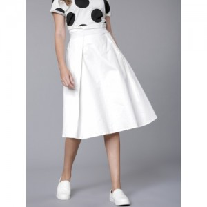 Tokyo Talkies Women White A-Line Midi Skirt