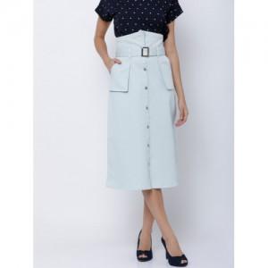 Tokyo Talkies Blue Solid A-Line Midi Skirt