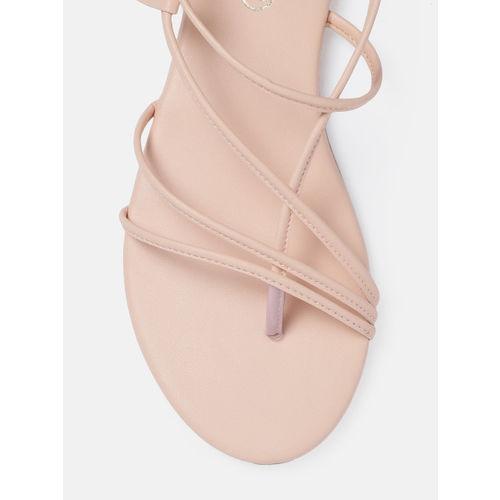 DressBerry Women Beige Solid Open Toe Flats