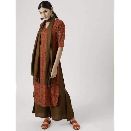 6f276cf5812 ... Libas Women Orange   Olive Brown Printed Kurta with Palazzos   Dupatta  ...