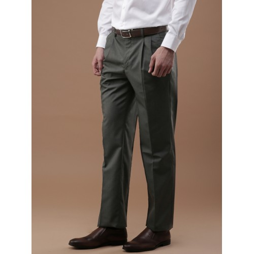 b7ddbd536ca ... Louis Philippe Men Grey Classic Regular Fit Solid Formal Trousers ...