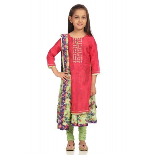 Biba Pink Poly Cotton Straight Suit Set