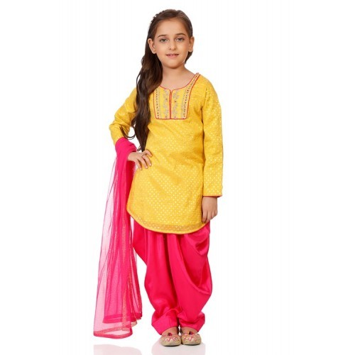 Biba Yellow Poly Cotton Straight Suit Set