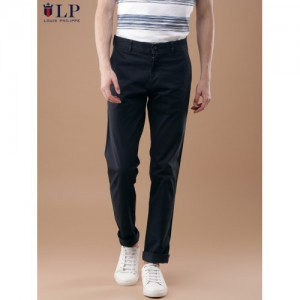 Louis Philippe Sport Men Navy Slim Fit Solid Chinos