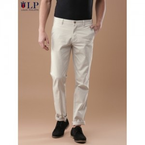 Louis Philippe Sport Men Beige Slim Fit Solid Chinos