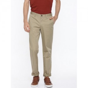 Louis Philippe Men Beige Slim Fit Solid Regular Trousers