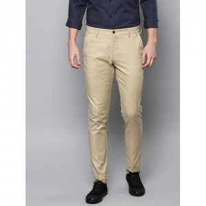 Louis Philippe Ath.Work Men Beige Comfort Tapered Fit Printed Smart Casual Trousers