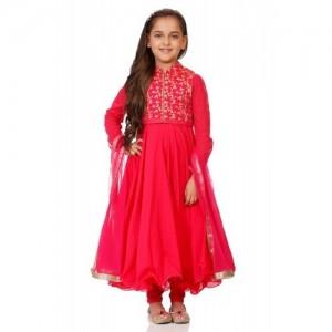 Biba Pink Cotton Anarkali Suit Set