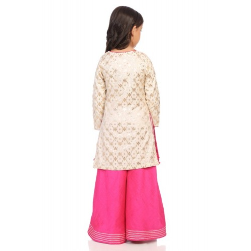 Biba Off White Poly Cotton Straight Suit Set