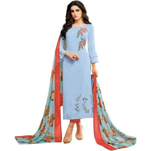 Oomph! Sky Blue Cotton Polyester Blend Embroidered Salwar Suit Dupatta Material