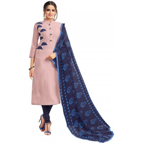 Oomph! Cotton Polyester Blend Embroidered Salwar Suit Dupatta Material(Un-stitched)