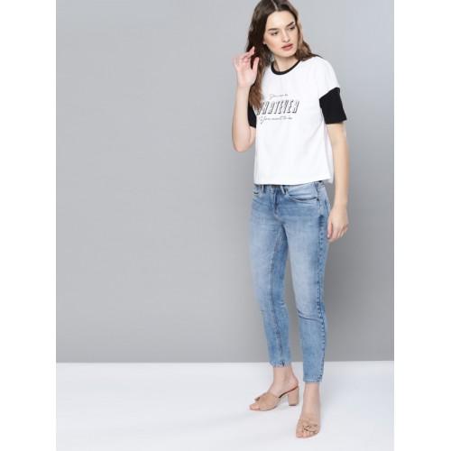 NUSH Women White & Black Printed Round Neck T-shirt