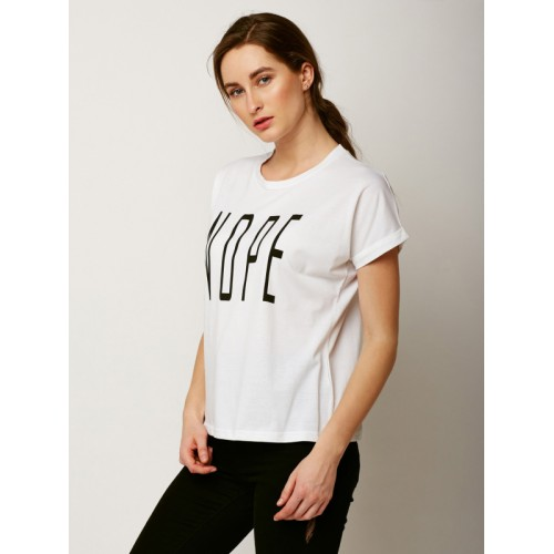 Miss Chase Women White Printed Round Neck T-shirt
