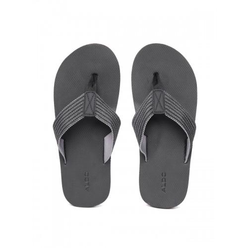 a2d55c1a1 Buy ALDO Men Black   Off-White Self-Striped Thong Flip-Flops online ...