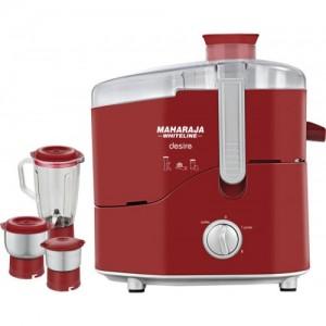 Maharaja Whiteline Desire (JX-210) 550 W Juicer Mixer Grinder(Red, 3 Jars)