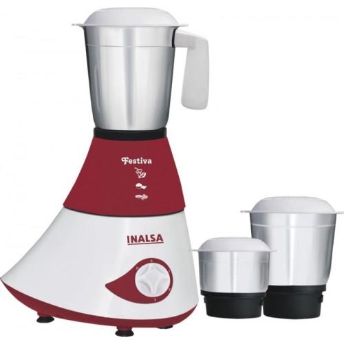 Inalsa Festiva 750 W Mixer Grinder(Maroon, 3 Jars)