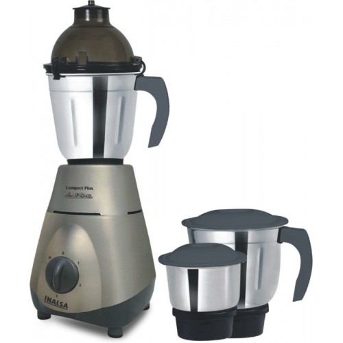 Inalsa Compact Plus 750 W Mixer Grinder(Grey, 3 Jars)