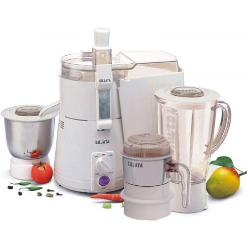 SUJATA POWERMATIC PLUS WITH CHUTNEY JAR WATT- 900 W Juicer Mixer Grinder(White, 3 Jars)