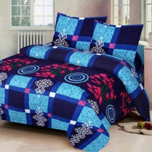 Home Pictures 144 TC Microfiber Double 3D Printed Bedsheet(Pack of 1, Blue)