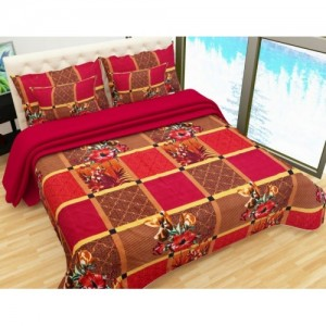 07a45ceeec707a Buy Italian Fab 144 TC Microfiber Double Floral Bedsheet(Pack of 1 ...