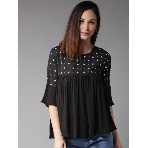 HERE&NOW Women Black Printed Empire Top