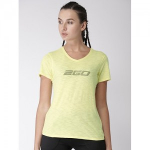 2GO Women Yellow Printed Essential Active T-shirt