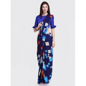Blissta Women's Navy Blue Georgette Printed Saree