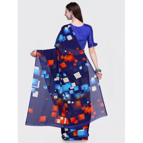 Blissta Navy Blue Georgette Printed Saree With Blosue