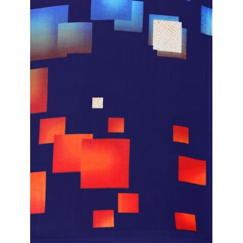 Blissta Navy Blue Georgette Printed Saree With Blosue