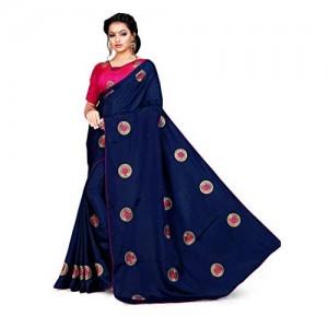 Blissta Navy Blue Two Tone Sana Silk Embroidered Saree