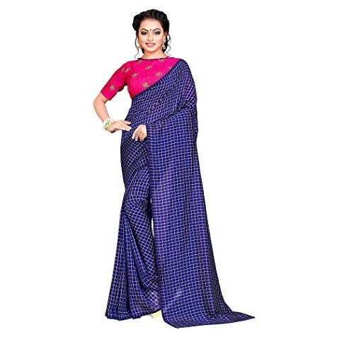 7980d0812a ... Blissta Blue Silk Chiffon Embroidered Two Tone Saree With Contrast Color  Blouse ...