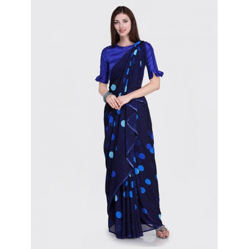 Blissta Navy Blue Georgette Printed Saree Wth Blouse Piece
