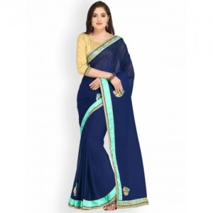 01b25eb720bd Buy Mirchi Fashion Royal Blue Embroidered Chiffon Fashion Saree ...