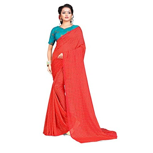 da30c50400 ... Blissta Red Silk Chiffon Embroidered Two Tone Saree With Contrast Color  Blouse ...