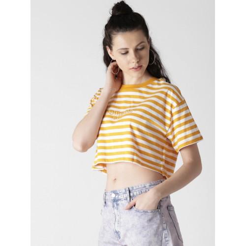 030408adc5 ... FOREVER 21 Women Orange & White Striped Round Neck Crop T-shirt ...
