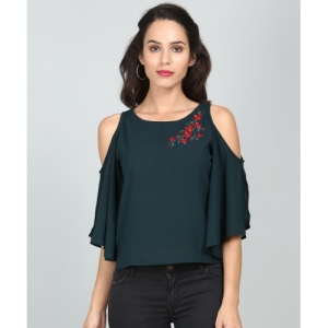 Tokyo Talkies Casual Cold Shoulder Embroidered Women Green Top