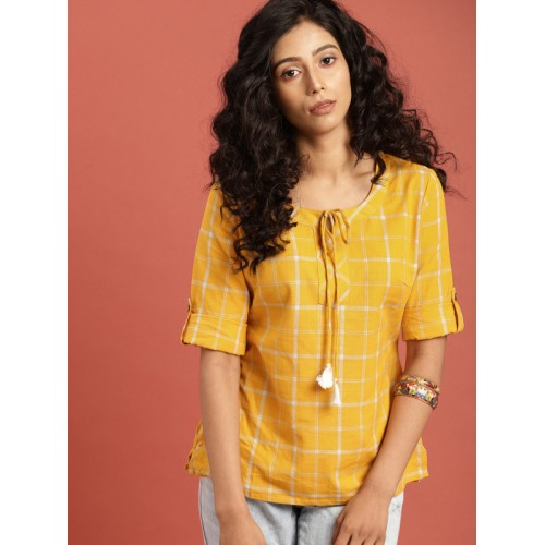 Taavi Women Mustard Yellow Checked Woven Legacy South Cotton A-Line Top