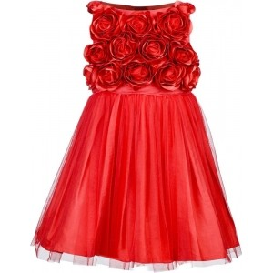 Toy Balloon Kids Red Polyester Solid Girl's Empire Waist Dress