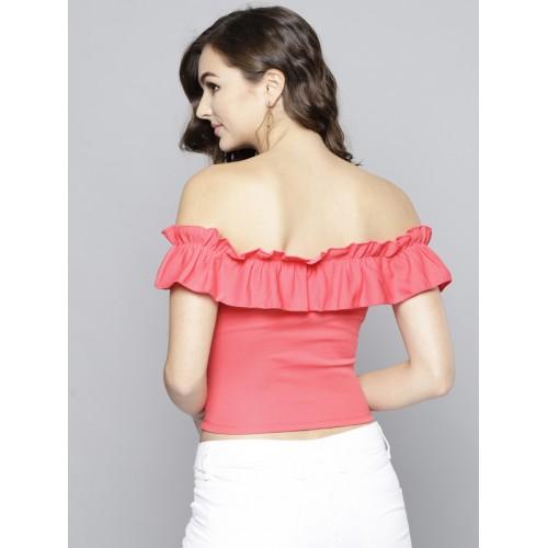 Veni Vidi Vici Women Coral Pink Solid Crop Bardot Top