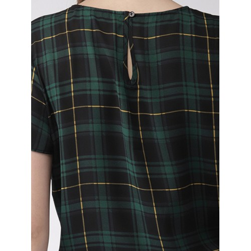 FOREVER 21 Women Green & Black Checked Crop Top