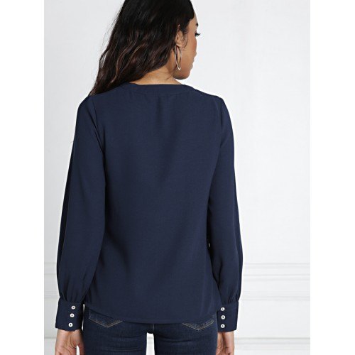 all about you from Deepika Padukone Women Navy Blue Solid Top
