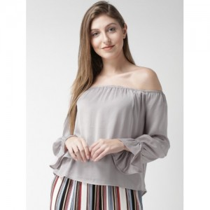 FOREVER 21 Women Grey Solid Bardot Top