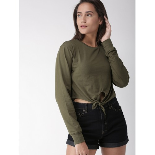 FOREVER 21 Women Olive Green Solid Crop Top