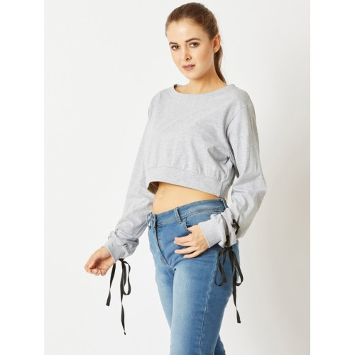 Miss Chase Women Grey Solid Crop Top