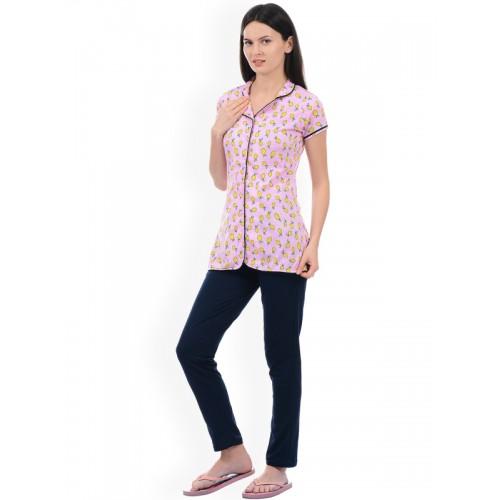 b06d5e1f7 Buy Sweet Dreams Women Pink   Navy Blue Printed Night Suit 226018 ...