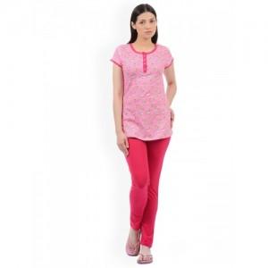 Sweet Dreams Women Pink Printed Night Suit 226818