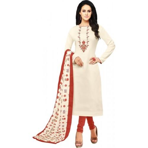 ef5b06b62b Buy Ratnavati Chanderi Cotton Embroidered, Solid Semi-stitched Salwar Suit  Dupatta Material online | Looksgud.in