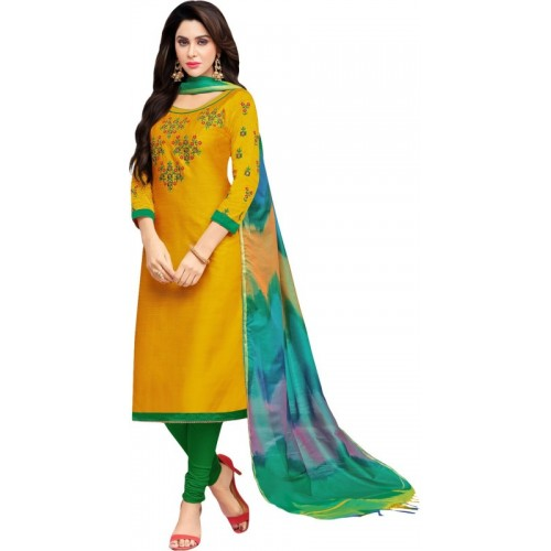 Ratnavati Cotton Silk Blend Embroidered Salwar Suit Dupatta Material(Un-stitched)