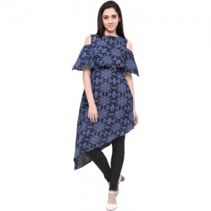 Inddus Blue Cotton Cold Shoulder Kurti
