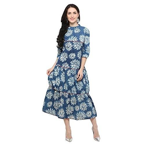 Inddus Blue Printed Flared Dress / Midi Length / Dress for women